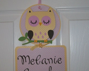 Owl Baby Girl Hospital Door Banner -  Baby Girl Shower Decoration - Baby Girl Owl Banner- 2 cards