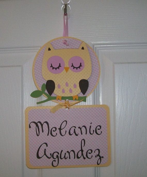 Owl baby girl hospital door banner baby girl shower for Baby hospital door decoration