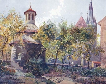 PRAGUE Praha Czech Republic Romanesque Rotunda of St. Longine - COLOR Antique Print by Jansa