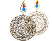 Delicately delightful earrings, made with gold plated lasercut filigrees and opaque aqua blue and red czech crystal beads - BBTAR