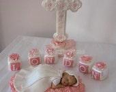 Cake Topper Set Bed of Ross Blocks Cross Baptism Christening