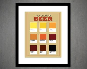 THE COLORS of BEER art print, Man cave art, Guys lounge - Bar art, Beer lover, Beer poster, Brewery art (MM0001)