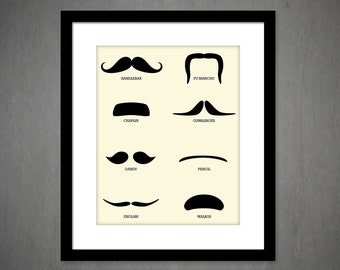 Moustache Styles art print The Mustache collection mustache print