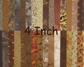 Fabric Squares 4 Inch Brown Charm Pack