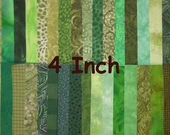 Charm Pack 4 Inch Green Squares Cotton Fabric