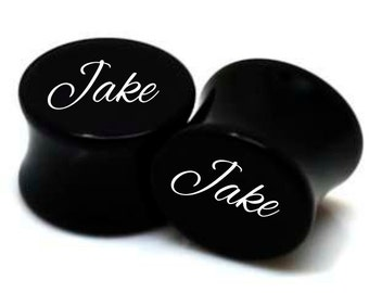 "Pair of Personalized Black Acrylic Plugs 0g - 3/4"" - With YOUR Name"