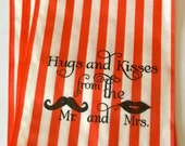 50 Red Stripe retro 'Hugs and Kisses...' candy buffet bags, wedding cake bags,candy station bags, favor bags