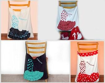 Flamenco gift, Large white tote, Bata de Cola skirt, Canvas tote bag, Flamenco dancer bag, flamenco dance gift, Choose your colour