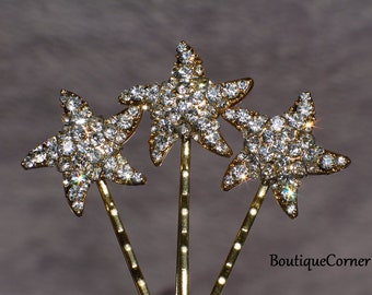 Starfish Bridal Hair Bobby Pins( Set of 3) - Bridal Hair Accessory - Bridal Headpiece -Gold Starfish Head Piece - Beach Wedding Hair Clips