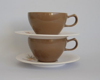 Vintage Melamine tea cup and saucer set (2) circa 1960s / 1970s. Chocolate brown and white. Oneida