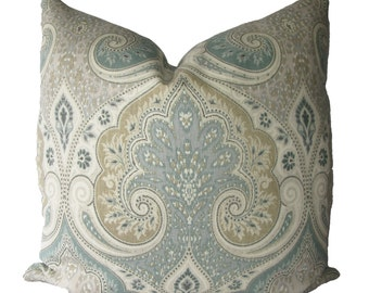 Decorative Designer Kravet Latika Paisley, Ikat, Aqua, Both Sides, 18x18, 20x20, 22x22 or Lumbar, Throw Pillow
