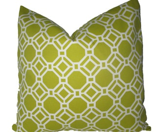 Decorative Designer Outdoor Geometric Chartreuse Lattice Pillow Cover, 18x18, 20x20, 22x22 or Lumbar, Trellis Throw Pillow
