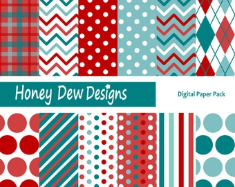 Instant Download - Digital Paper Pack 218 Red and Teal Patterned Paper