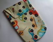 Baby Boys Diaper Clutch Crazy Cars and Deep Orange Dots
