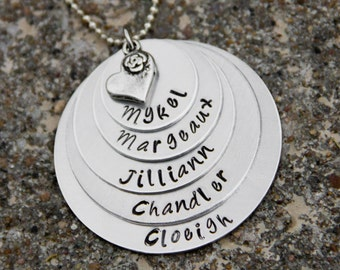 Layered Aluminum stamped metal necklace 3 CIRCLES AND NAMES with heart charm
