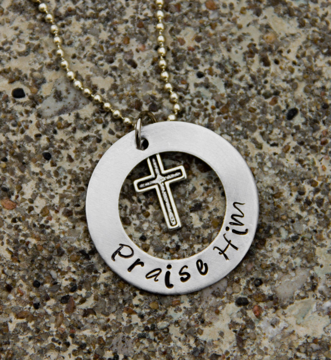 Metal hand stamped washer necklace with religious saying and for How do you make hand stamped jewelry