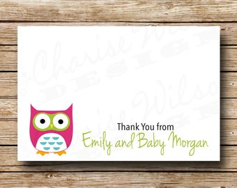Baby Shower Thank You Note - Owl Flat Card