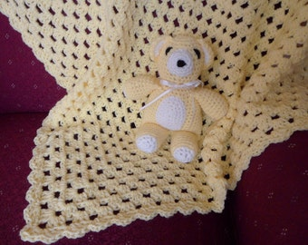 Crocheted 'Granny Square' Baby Blanket - honey bee (bear sold separately)