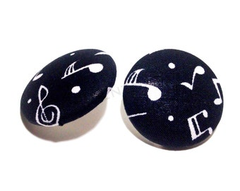 Oversized Black Musical Notes Button Earrings