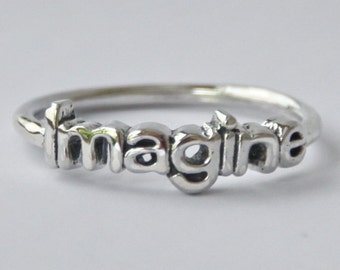 Imagine Sterling silver Stack ring with Poetic/Inspirational word, jewelry, The Beatles, Novelty, Valentines day gift, Inspiration and goals
