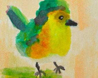 Original ACEO Watercolor Painting- Green Bird