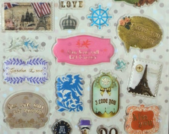 Japanese / Korean Clear Sticker- Vintage Love Message Labels