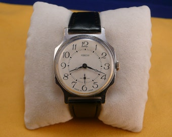 "USSR  ""POBEDA"" wrist watch 1960-70 white unusual dial interesting Big case  Ultra Ultra Rare Perfect condition"