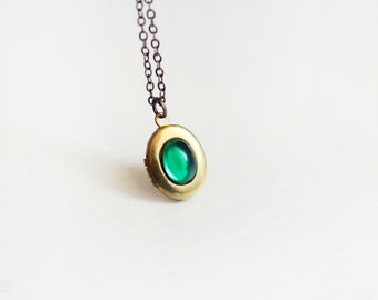 emerald green tiny locket - minimalist, dainty jewelry / gift for her