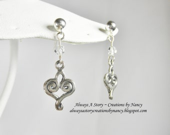Swarovski Clear Crystal and Heart Charm Earrings