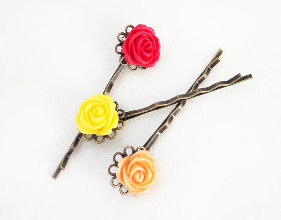 Cabochon Resin Flower Bobby Pins - Hair Clips - Hair accessories - red - yellow - peach - pink - fuchsia