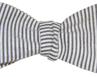 Bow Tie Logic Charcoal Grey and White Striped Seersucker Bow Tie
