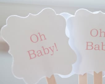Baby Shower Drinks-Drink Stirrers- Signature Drink-Stir Sticks-Baby Shower Decorations-Hello Baby- Oh Baby-Set of 25