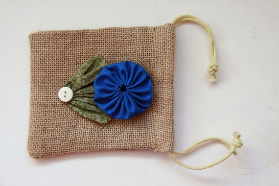Reserved for Tobi - Rustic Gift Bag - Burlap One BLUE YoYo Flowers and Buttons for Rustic Western Country Wedding and Party Favors