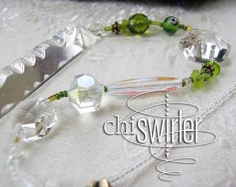 Green beaded Suncatcher, vintage chandelier crystal, rainbow, good energy Chi-Swirler