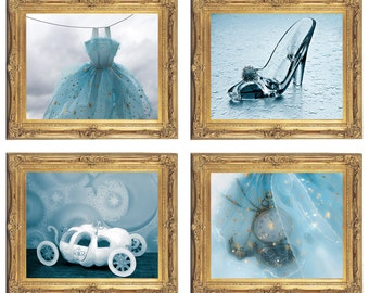 Cinderella Wall Art Digital Download Set of 4 Cinderella inspired art blue baby room girls room nursery decor