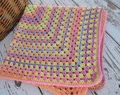 Crochet afghan granny square baby blanket - pastel, colorful, bright and soft Christmas gift