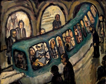 Original Oil Painting, Metro Curve. 20x24 Original Industrial Expressionist Oil on Canvas, Signed Original Fine Art Paris Metro