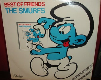 Vintage Smurf Record 1982 full sized LP Best of Friends The Smurfs