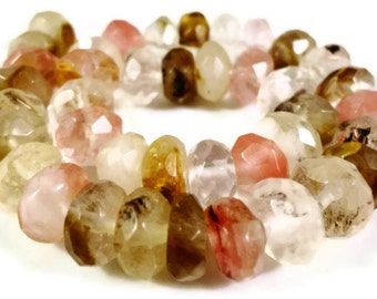 """Watermelon Tourmaline Quartz Gemstone Beads 8x5mm (5x8mm) Faceted Rondelle Multicolor Quartz Stone Beads on a 7"""" Strand with 37 Beads"""