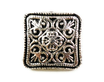 Silver Square Buttons 13x7mm Antique Silver Tone Metal Shank Buttons, Filigree Buttons, Wrap Bracelet Buttons, Sewing Supplies, 5pcs