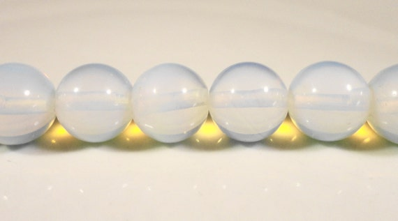 """Opalite Glass Beads 10mm Round Moonstone Glass Beads, Beading Supplies, Jewelry Making, Faux Opal Glass Beads on a 7"""" Strand wtih 19 Beads"""