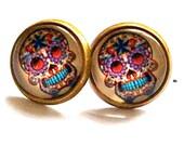 skull earrings multi colour scull post stud earrings gothic bronze silver