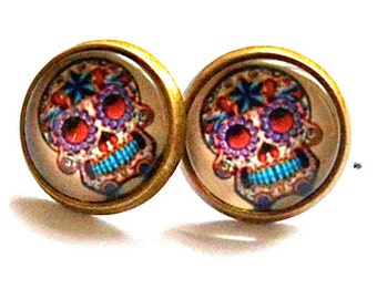 skull earrings, multi colour scull post, stud earrings gothic bronze silver, day of the dead