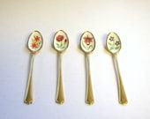 Demitasse Spoons Gold Tone Floral by Supreme Cutlery Japan - Set of Four
