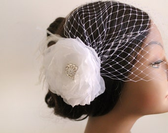 Birdcage Bandeau Veil, Ivory Flower Birdcage Veil and Fascinator, Head Piece, Wedding Accessories, Ostrich Feathers and Rhinestone Brooch
