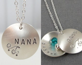 Hand Stamped Nana Necklace - Custom Jewelry - Sterling Silver Personalized Jewelry - Grandmother Necklace