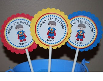 Superman Super Heros Cupcake Toppers - Set of 12 Personalized Birthday Party Decorations