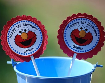 Elmo Sesame Street Cupcake Toppers - Set of 12 Personalized Birthday Party Decorations
