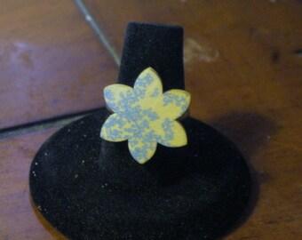 Wooden Flower with Blue Floral Design Adjustable Ring