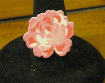 Pink and White Glitter Wooden Rose Adjustable Ring